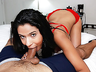 Gorgeous chick Karmen Bella rides on her boyfriends giant cock